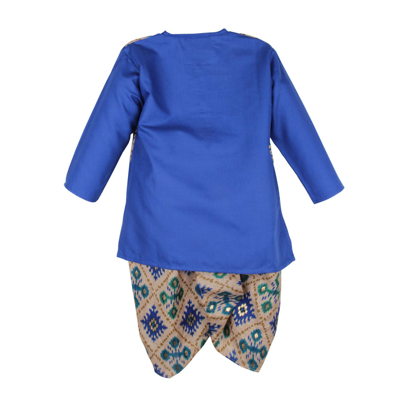 Soft Cotton Ikkat Print Dhoti Kurta For Boys - Blue