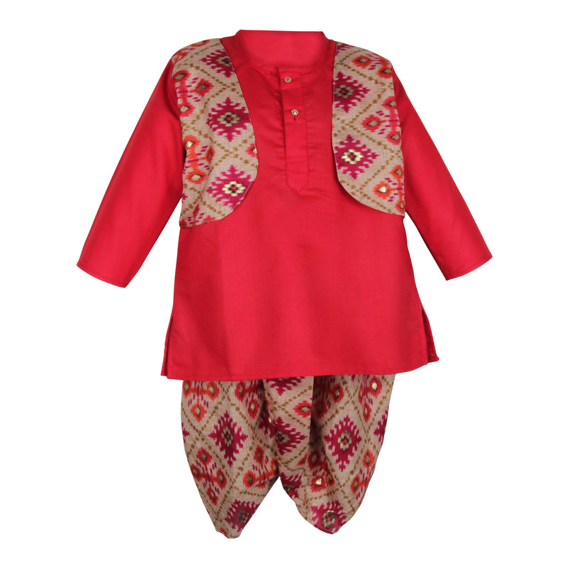 Soft Cotton Ikkat Print Dhoti Kurta For Boys - Red