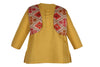 Soft Cotton Ikkat Print Dhoti Kurta For Boys - Yellow