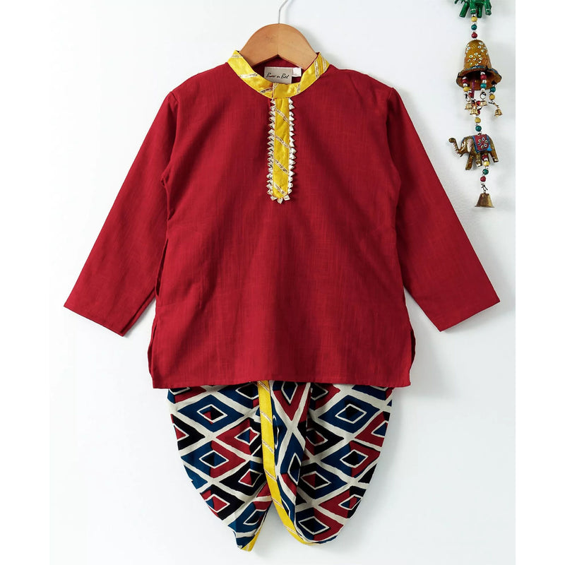 Bownbee Jaipuri Print Cambric Cotton Dhoti Kurta- Red & Navy blue - BownBee - Creating Special Moments