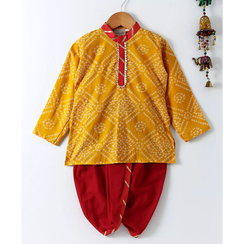 Bownbee Jaipuri Print Cambric Cotton Dhoti Kurta- Yellow - BownBee - Creating Special Moments