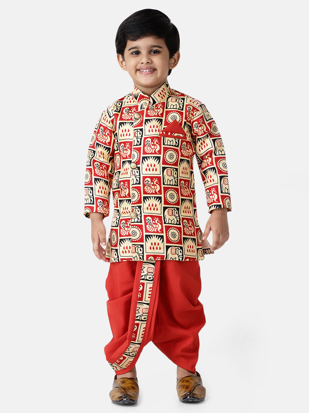 Hathi-Mor Print Sherwani with Dhoti- Red