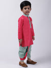 Flower Embroiodered Full Sleeves Kurta & Dhoti Set - Pink