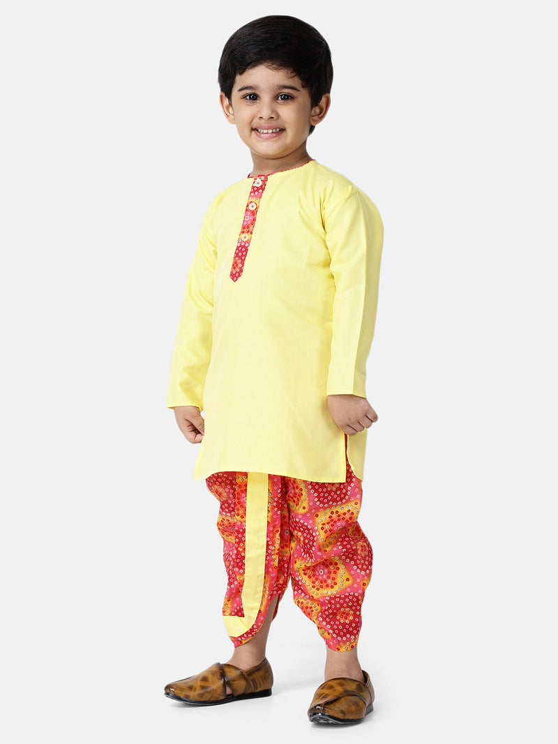 Bandhani Print Full Sleeve Kurta Dhoti-Yellow