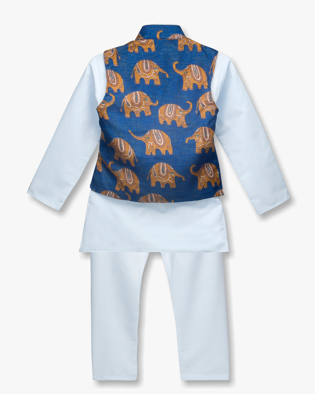 Hathi Print Kurta Pyjama For Boys - Blue