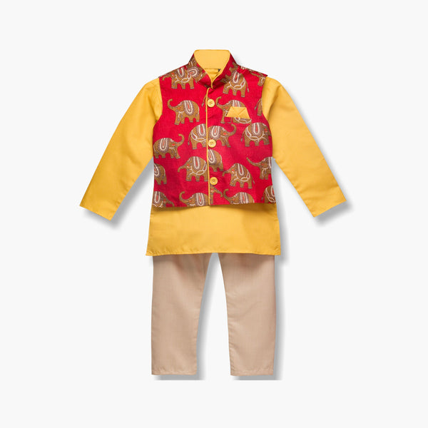 Hathi Print Kurta Pyjama For Boys - Yellow