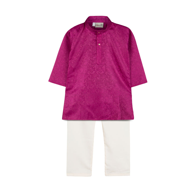 Ethnic Grace Jacquard Kurta Pajama For Boy -Purple - BownBee - Creating Special Moments