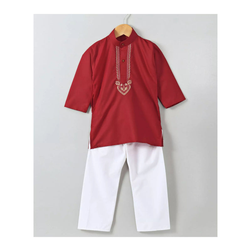 Silk Embrodery Stand Collar Soft Cotton Kurta - Red