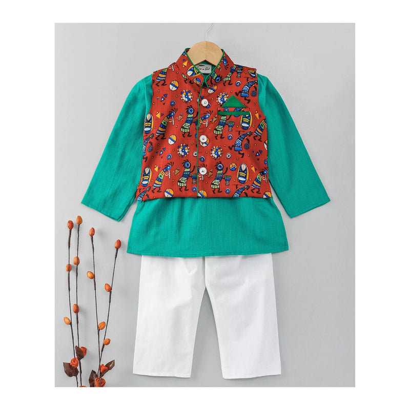 Slub Cotton Kurta Pajama with Waistcoat - Green
