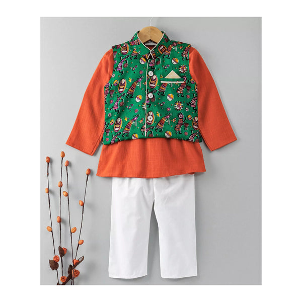 Slub Cotton Kurta Pajama with Waistcoat - Orange