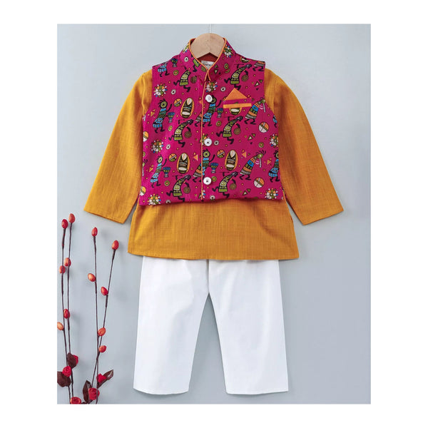 Slub Cotton Kurta Pajama with Waistcoat - Yellow