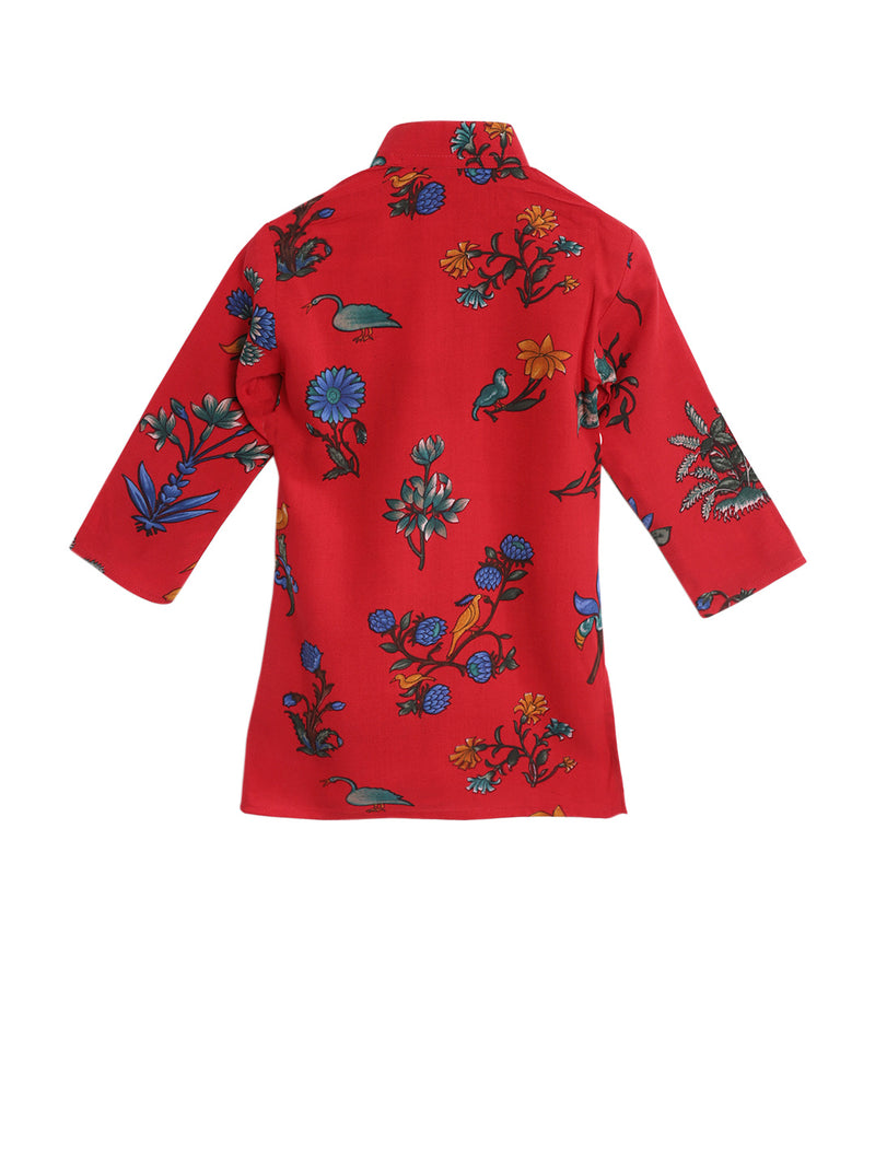 Digital Print Rayon Kurta With Churidar- Red - BownBee - Creating Special Moments