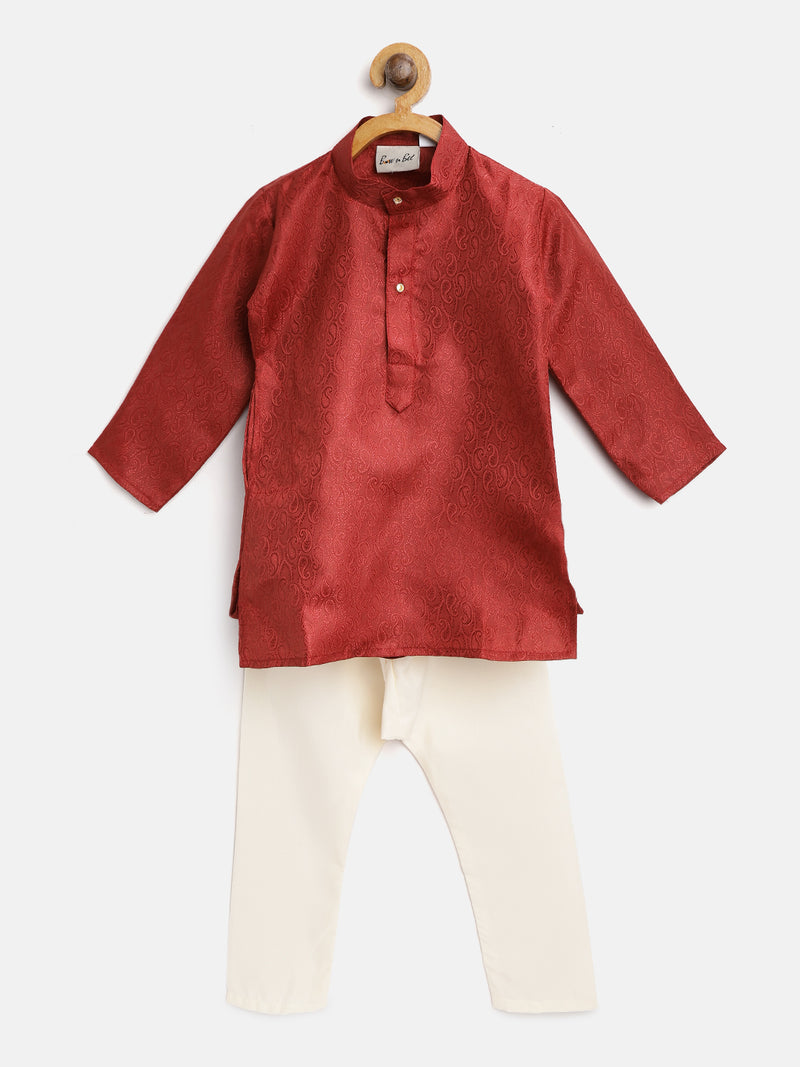 Ethnic Grace Kurta Pajama For Baby Boy-Maroon - BownBee - Creating Special Moments