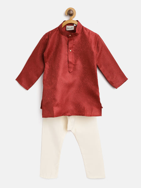 Ethnic Grace Kurta Pajama For Baby Boy-Maroon