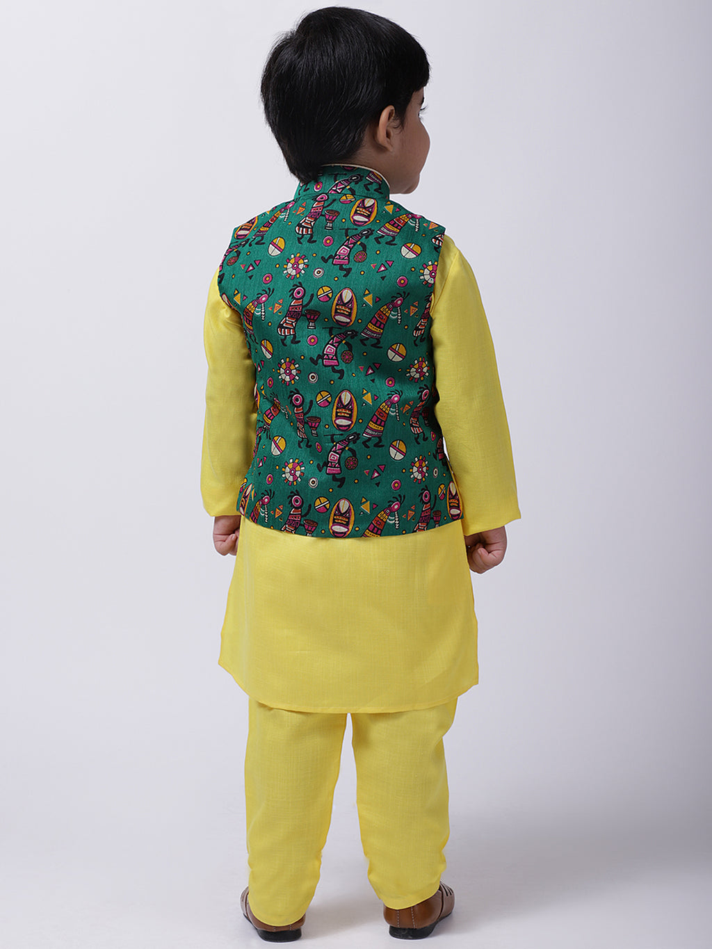 Tribal Print Jacket With Stand Collar Kurta Pajama-Green