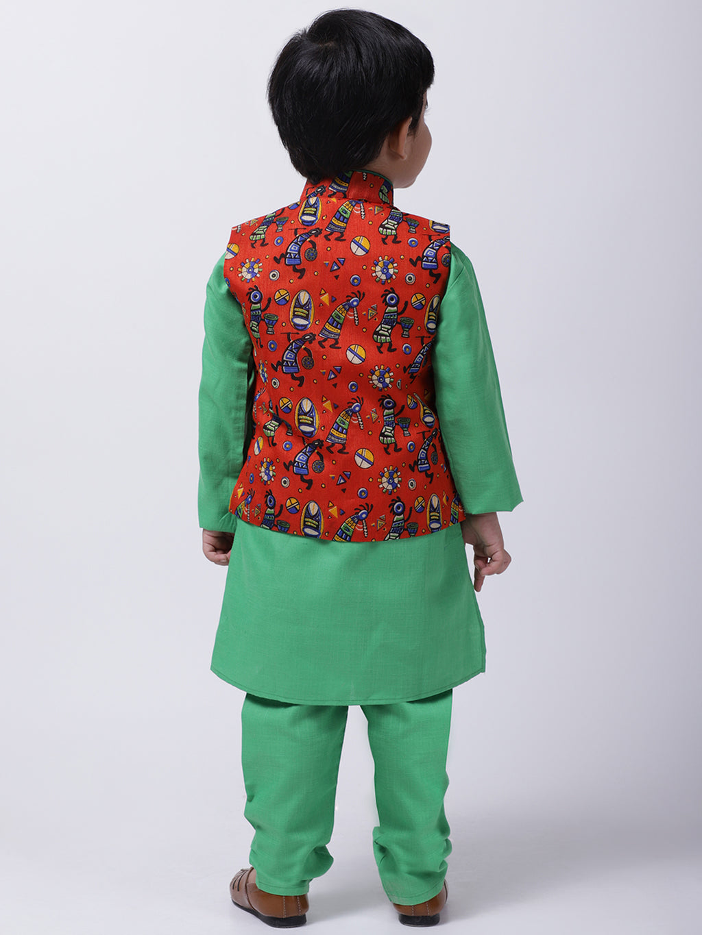 Tribal Print Jacket With Stand Collar Kurta Pajama-Orange