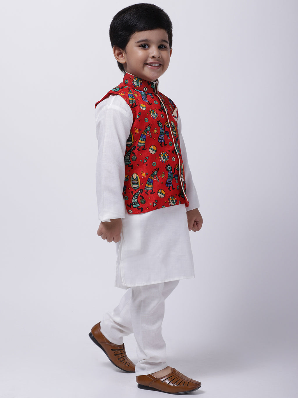 Tribal Print Jacket With Stand Collar Kurta Pajama-Red