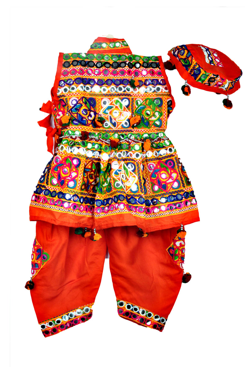 Embroidery Kedia Dhoti Set - Orange - BownBee - Creating Special Moments
