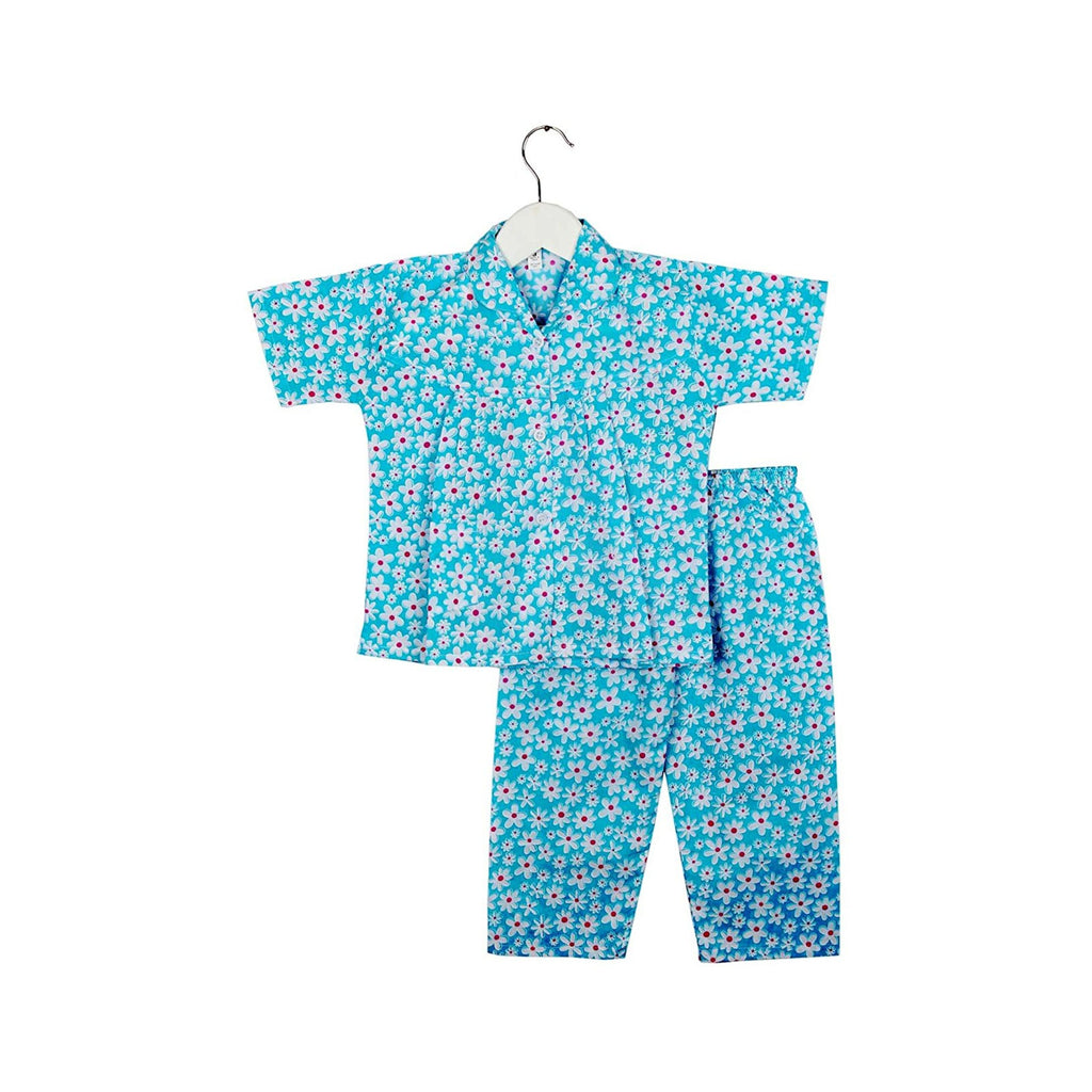 Half Sleeve Flower Print Kids Night Suit - Blue
