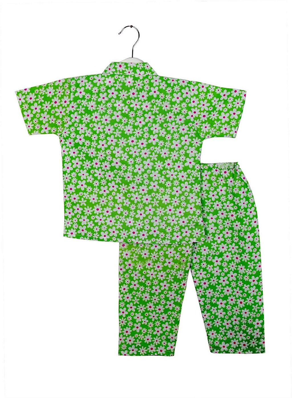 Half Sleeve Flower Print Kids Night Suit - Green