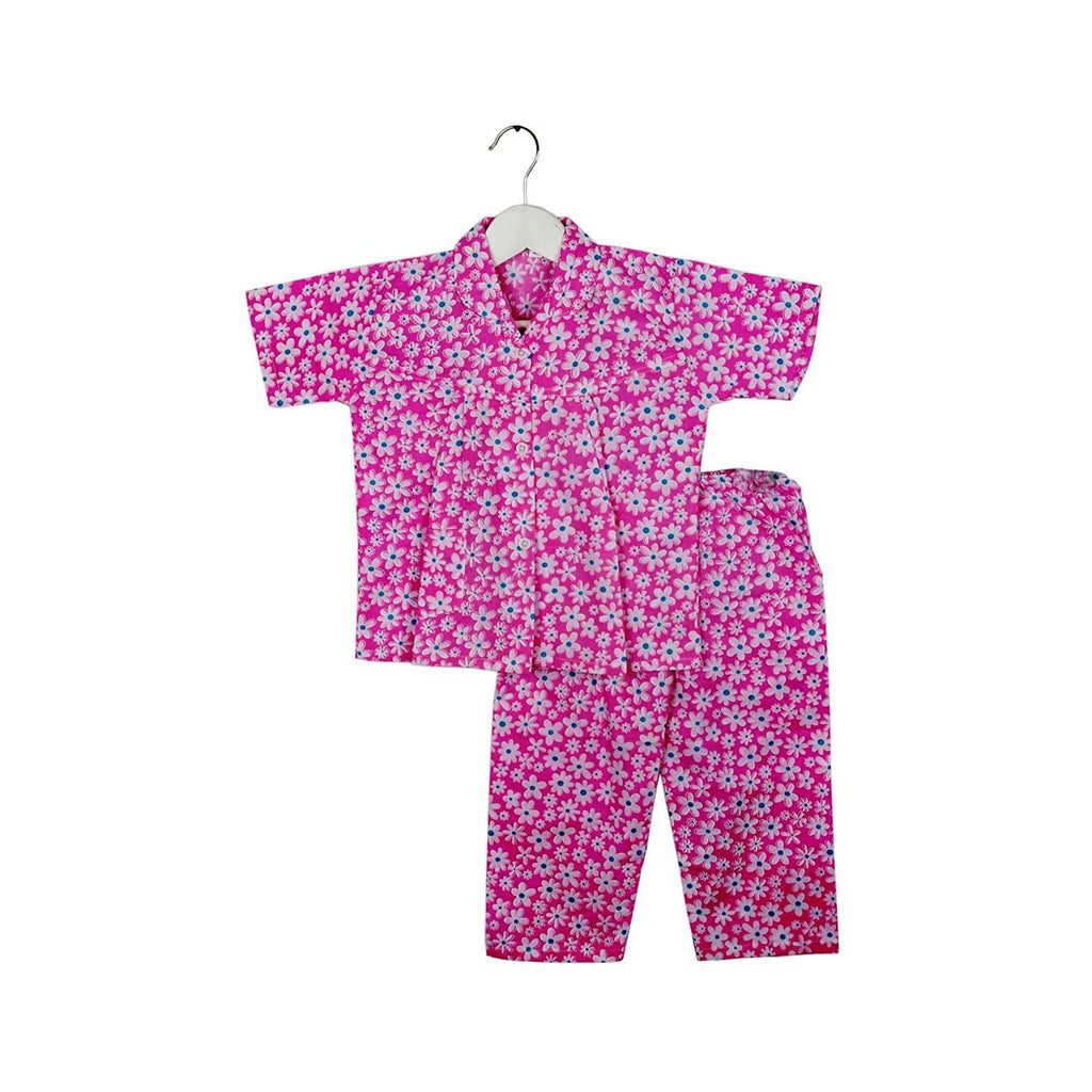 Half Sleeve Flower Print Kids Night Suit - Pink