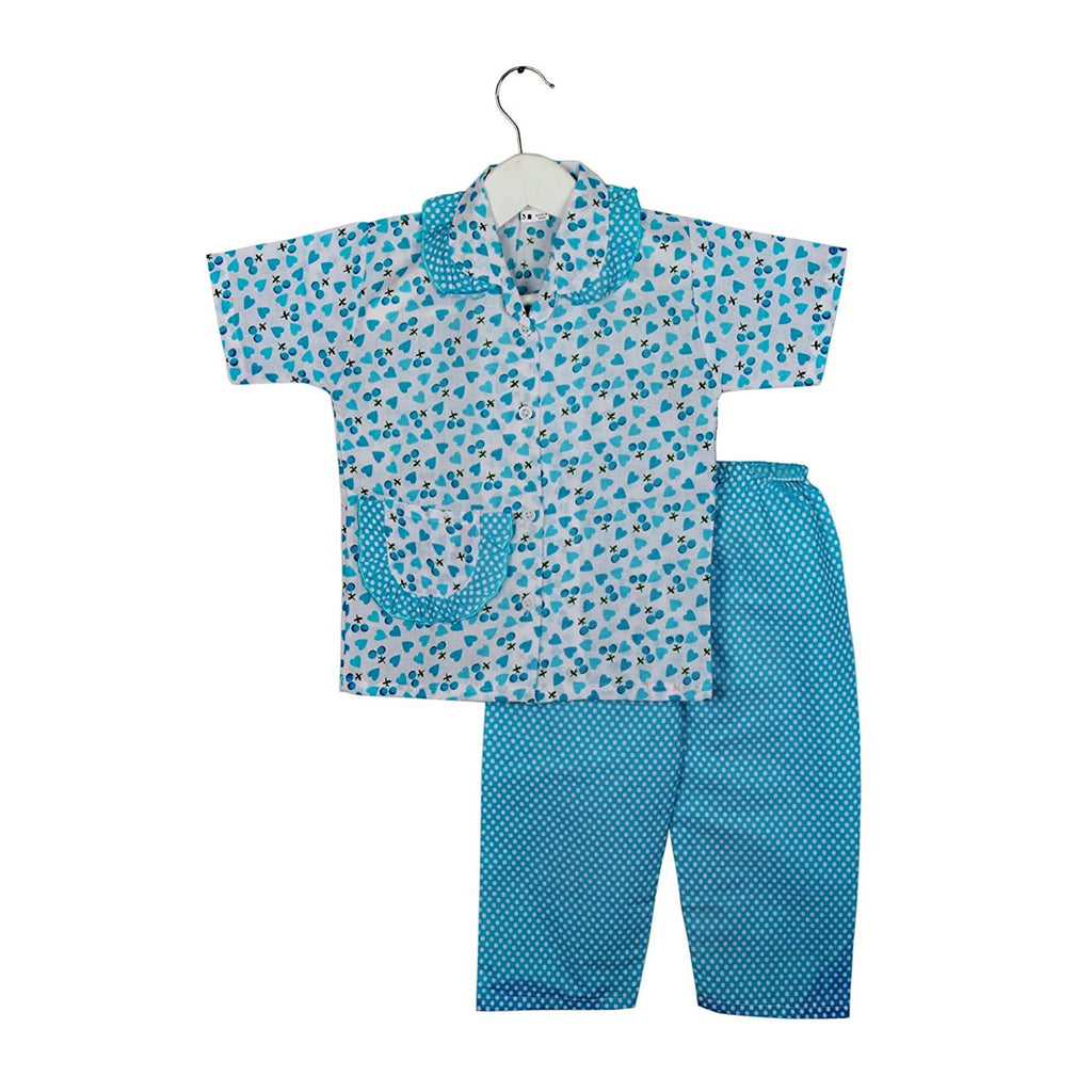 Half Sleeve Heart Print Kids Night Suit - Blue