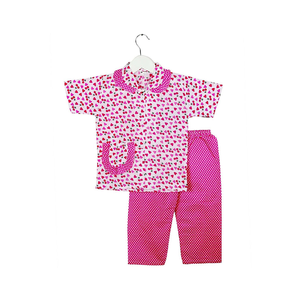 Half Sleeve Heart Print Kids Night Suit - Pink