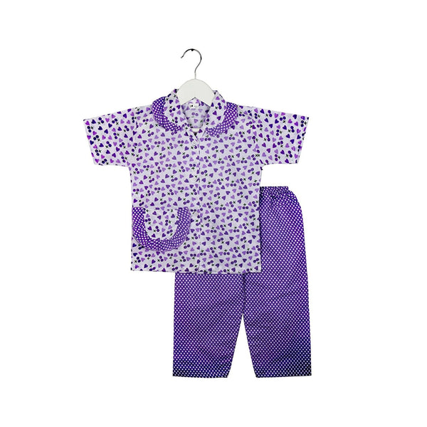 Half Sleeve Heart Print Kids Night Suit - Purple