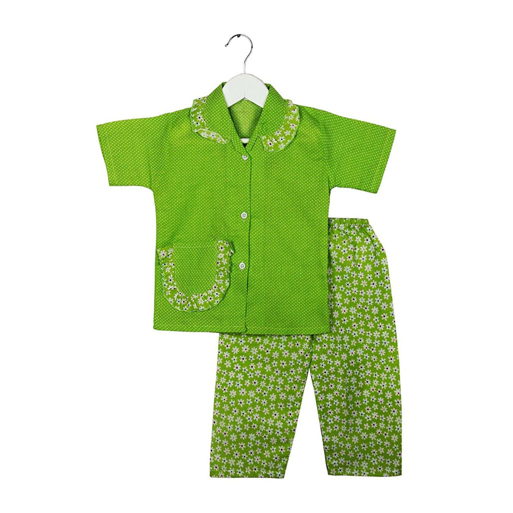 Half Sleeve Small Flower Print Kids Night Suit - Green