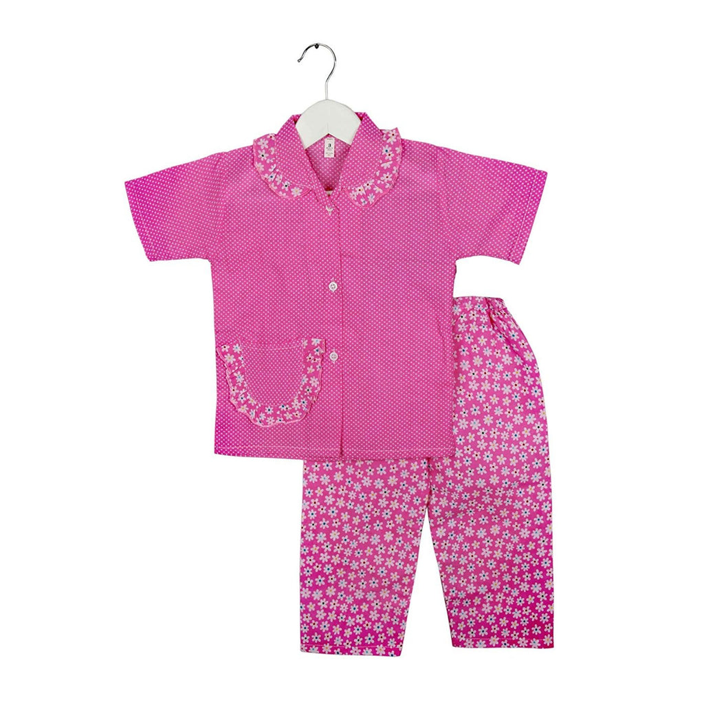 Half Sleeve Small Flower Print Kids Night Suit - Pink