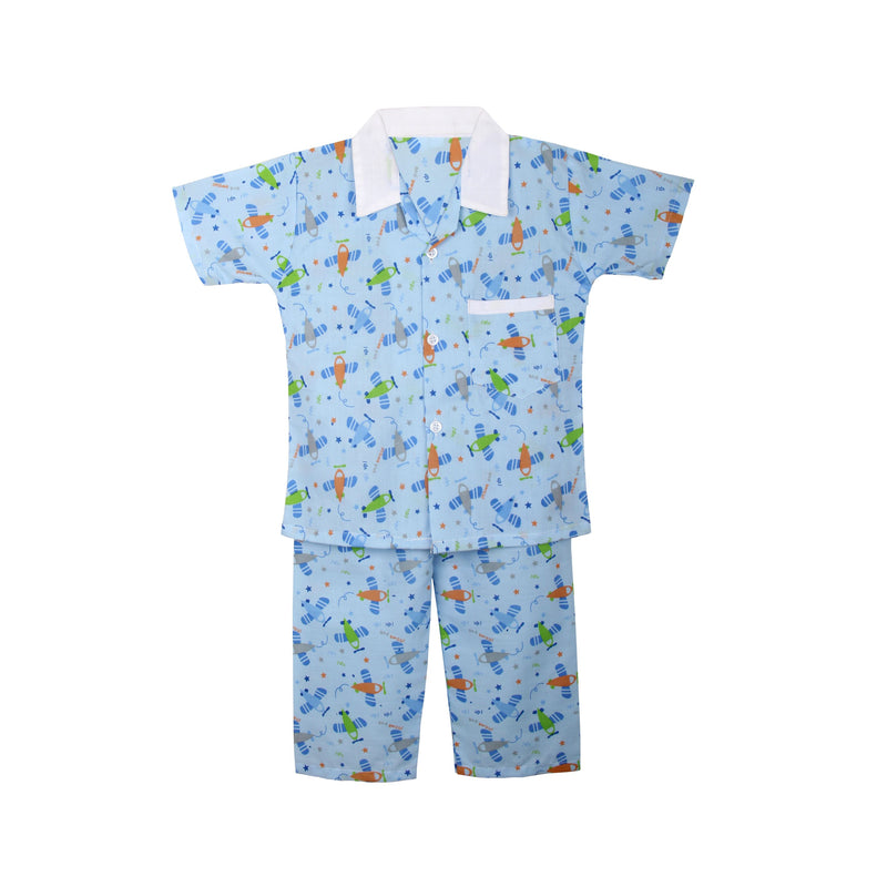 Cotton Night Suits for Baby Boys -Blue - BownBee - Creating Special Moments