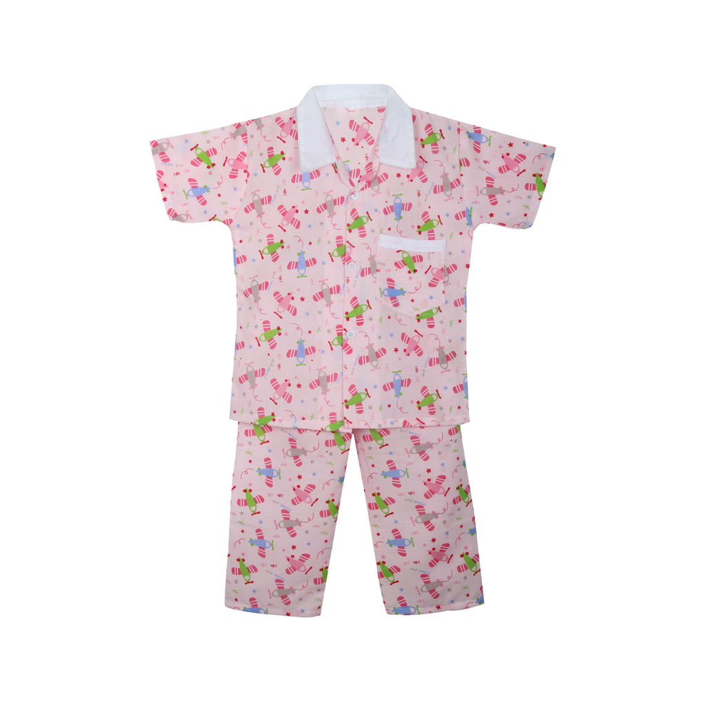 Cotton Night Suits for Baby Boys -Pink - BownBee - Creating Special Moments
