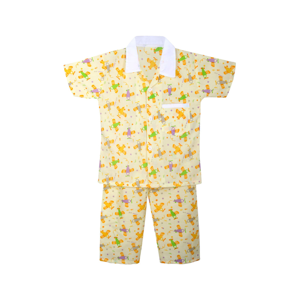 Cotton Night Suits for Baby Boys -Yellow - BownBee - Creating Special Moments