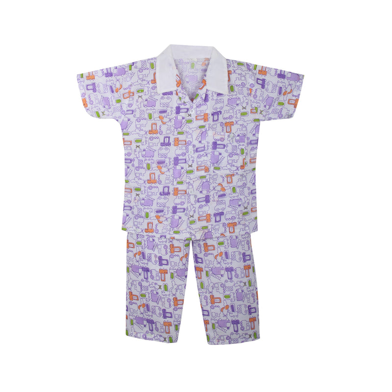 Cotton Night Suits for Baby Boys -Purple - BownBee - Creating Special Moments