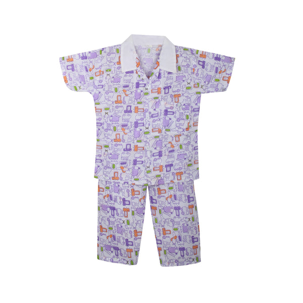 Cotton Night Suits for Baby Boys -Purple
