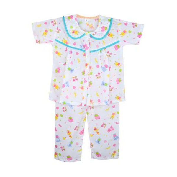 frog print Cotton night Suit for Girls- Blue