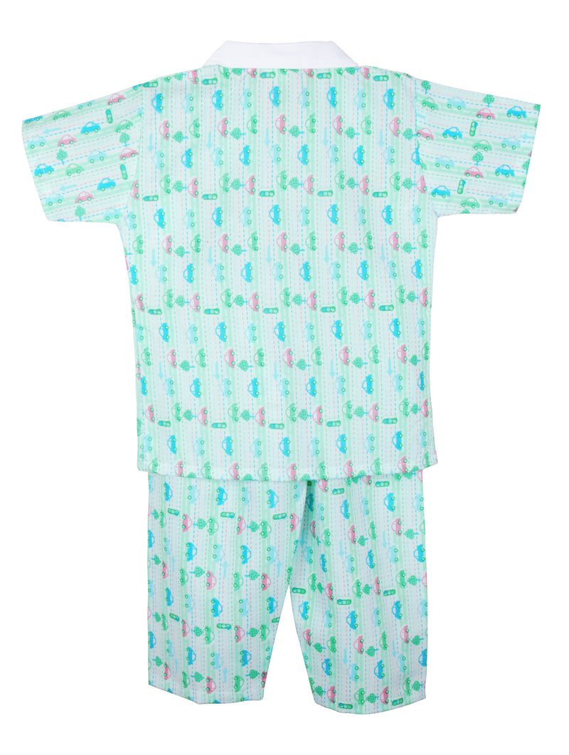 Car Print Cotton Night suit for Boys - Green - BownBee - Creating Special Moments