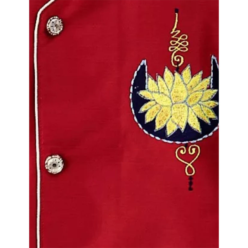Bownbee Lotus Mulberry Silk Sherwani- Red - BownBee - Creating Special Moments