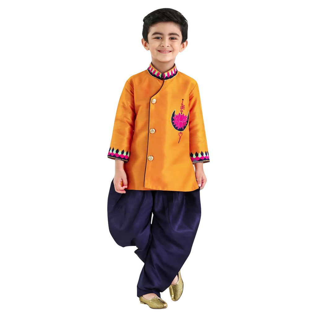 Bownbee Lotus Mulberry Silk Sherwani- Yellow - BownBee - Creating Special Moments