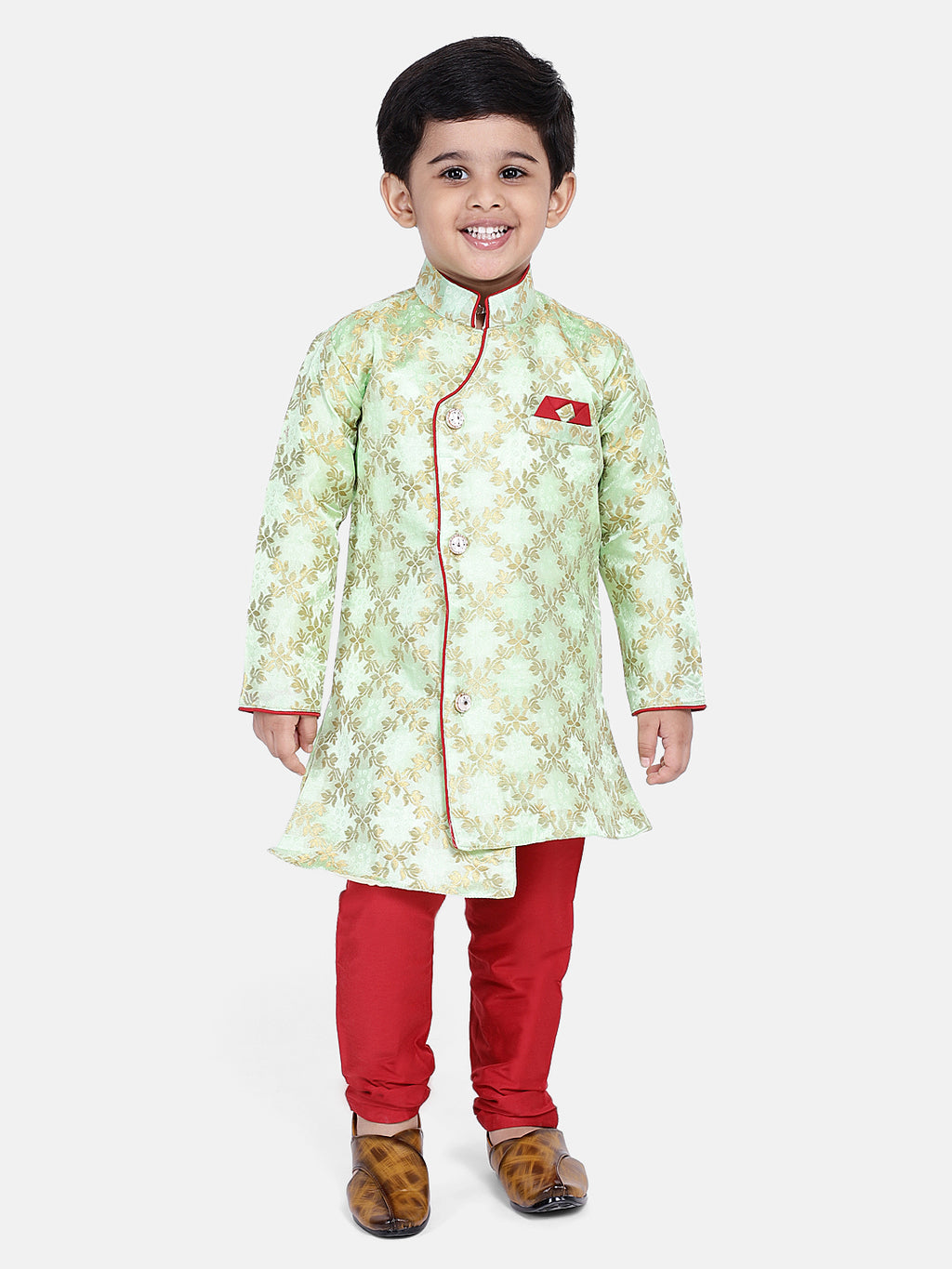 Brocade High-Low Sherwani- Sea Green