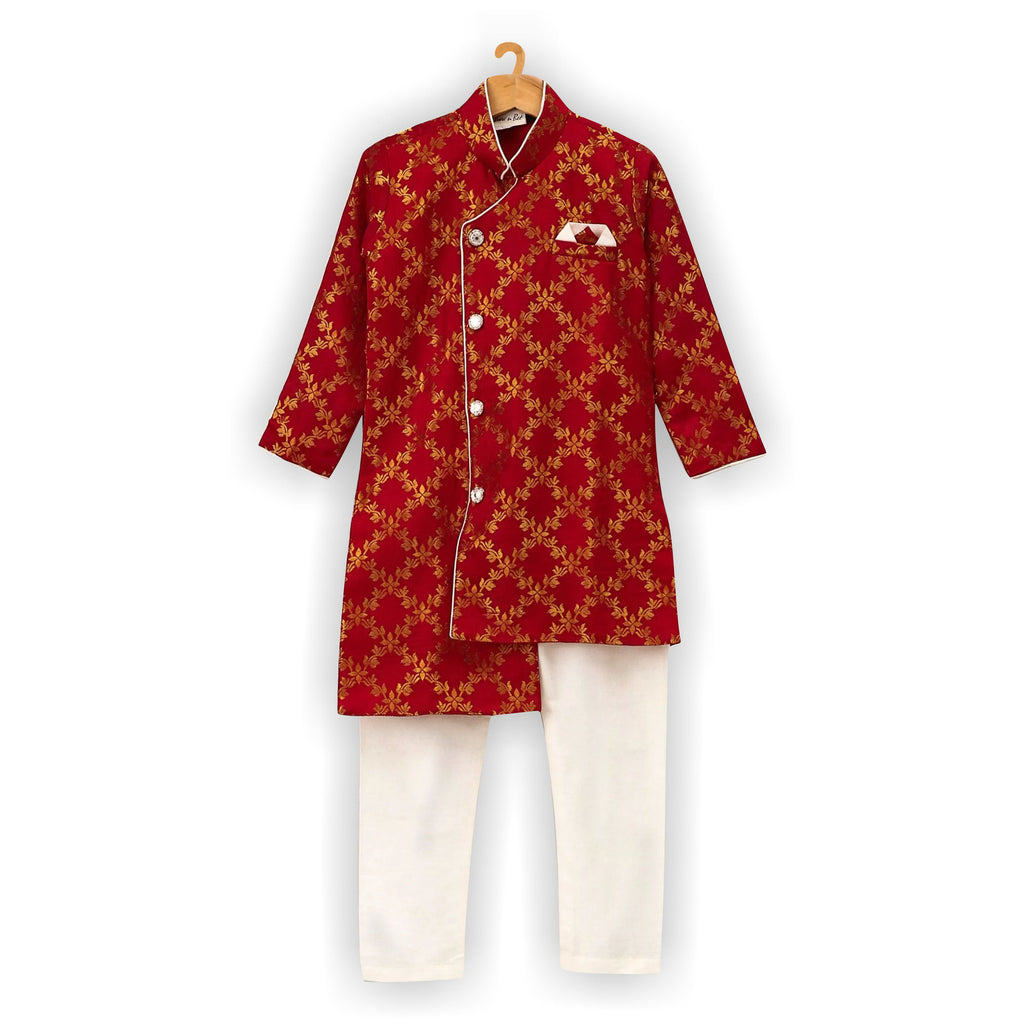 Brocade High-Low Sherwani- Red - BownBee - Creating Special Moments