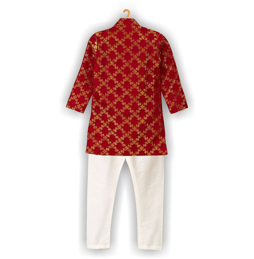 Brocade High-Low Sherwani- Red