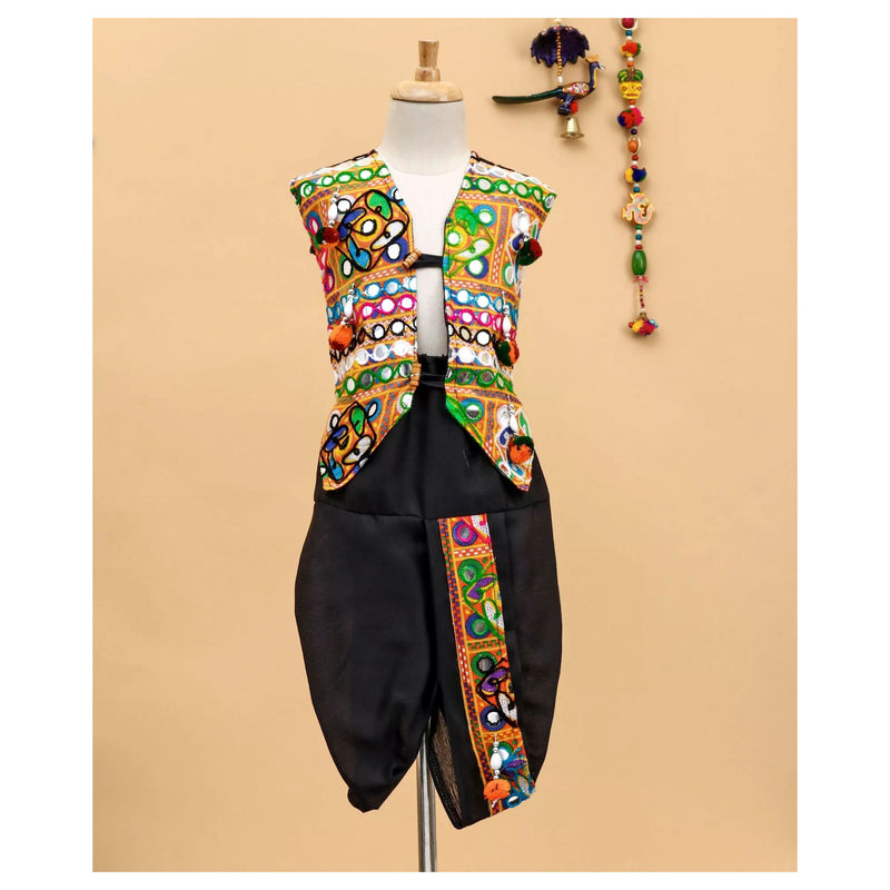 Bownbee Embroidered Jacket with dhoti - Black - BownBee - Creating Special Moments