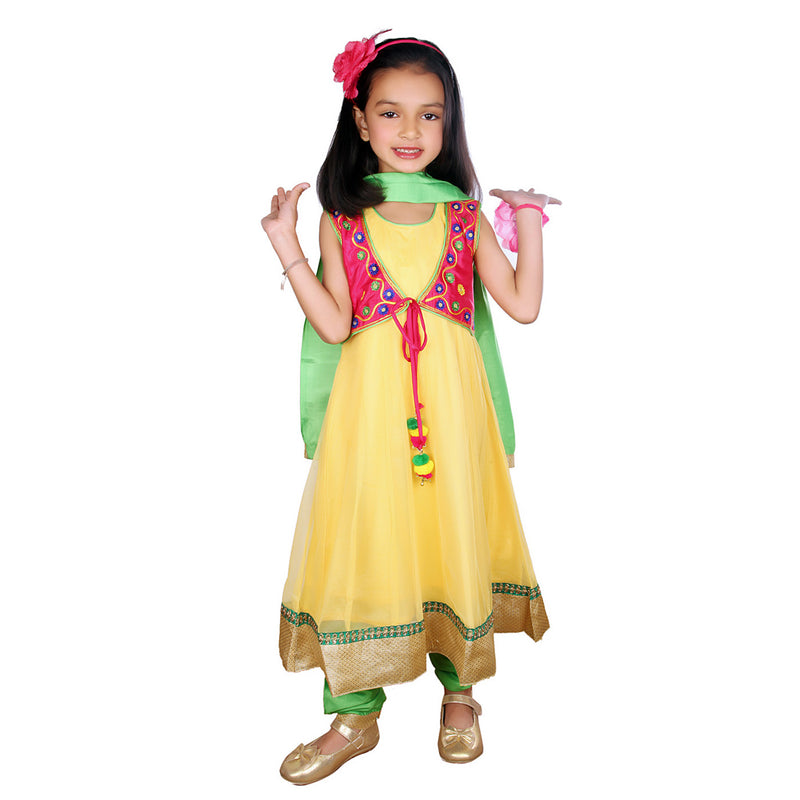 Anarkali Suit with Embroidered Jacket - Yellow - BownBee - Creating Special Moments