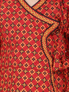 Jaipuri Print Full Sleeves Angrakha Style Kurta & Dhoti Set -Red