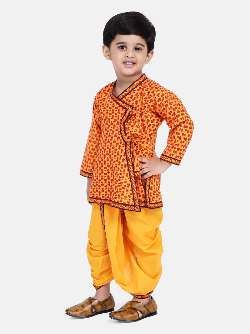 Jaipuri Print Full Sleeves Angrakha Style Kurta & Dhoti Set - Yellow