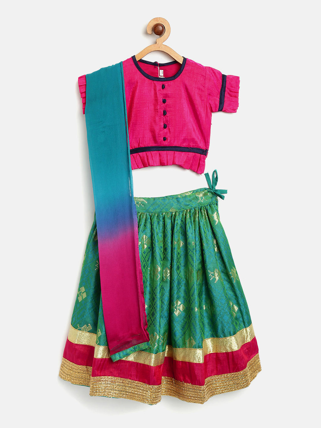Royal Touch Brocade Lehnga Choli For Girls - Green