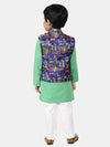 Bownbee Kurta Pajama with Village Art Waistcoat -Green
