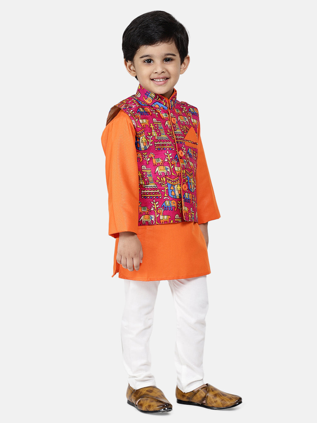 Bownbee Kurta Pajama with Village Art Waistcoat -Orange
