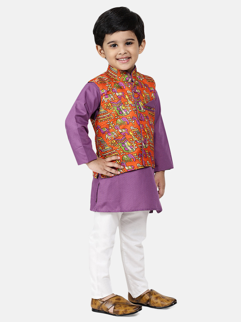 Bownbee Kurta Pajama with Village Art Waistcoat -Purple